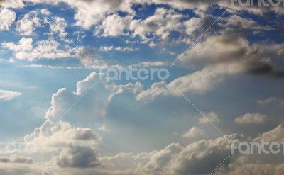 Blue clouds and sunny sky