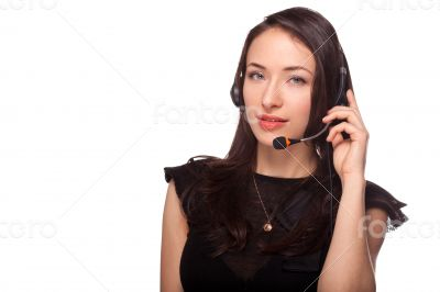 Call center support woman with headset