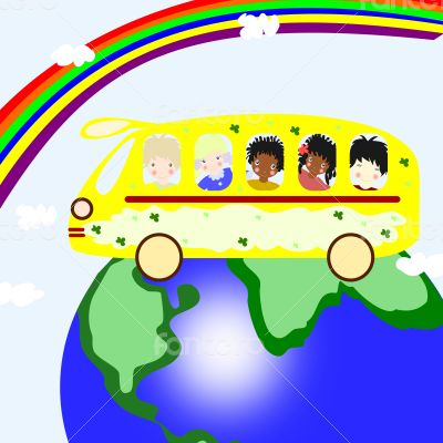 Children of different races are going on a  bus