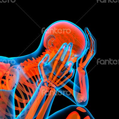 3d rendered red skeleton of a sitting - side view