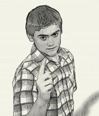Sketch Teen boy body language - Finger Pointing
