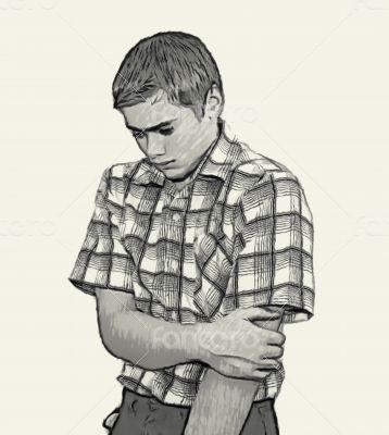Sketch Teen boy body language - Shy Unconfident