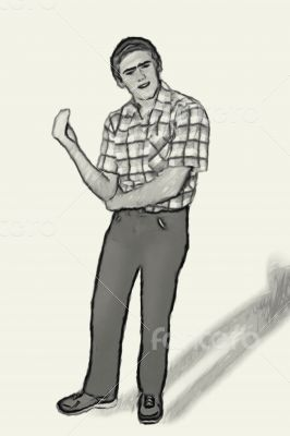 Sketch Teen boy body language - Questioning