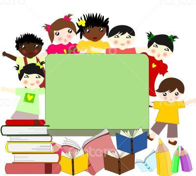 Children of different races near a school board