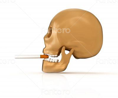 3d skull smoking cigarette