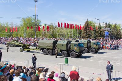 Russian military transport at parade Victory Day