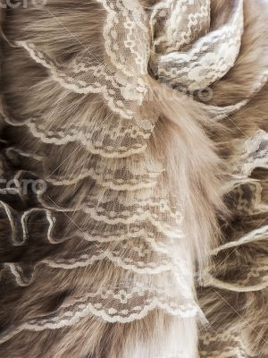 The product from from natural fur with lace