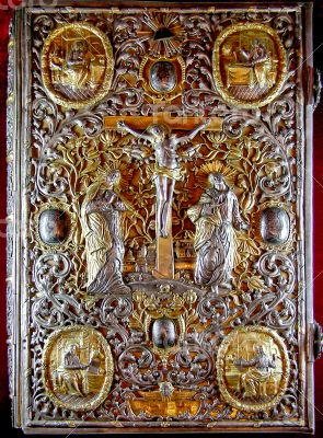 rich golden cover of Orthodox Gospel or Bible