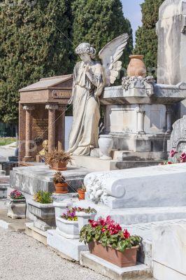 Nice, France. Gravestone monuments on a city cemetery