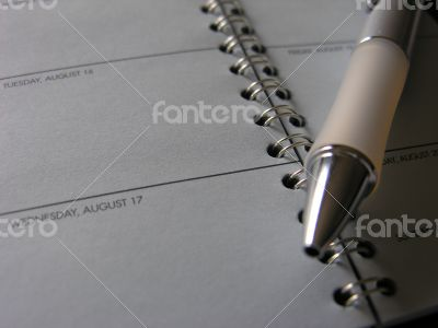 Pen Lying Across Open Page of Day Timer