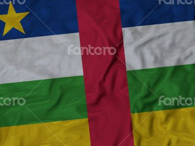 Close up of Ruffled Central African Republic flag