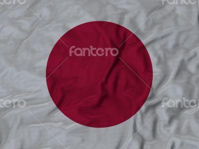 Close up of Ruffled Japan flag
