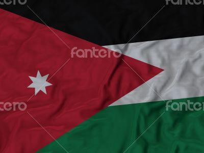 Close up of Ruffled Jordan flag