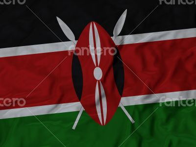 Close up of Ruffled Kenya flag