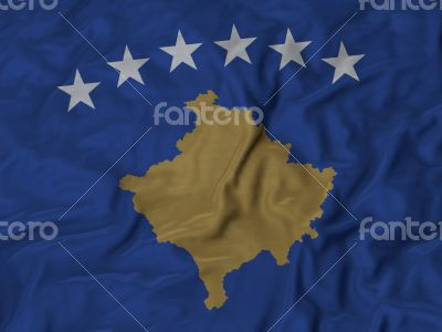 Close up of Ruffled Kosovo flag