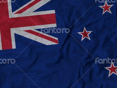 Close up of Ruffled New Zealand flag