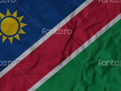 Close up of Ruffled Namibia flag