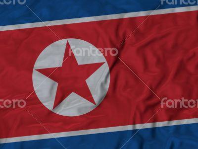 Close up of Ruffled North Korea flag