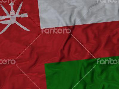 Close up of Ruffled Oman flag
