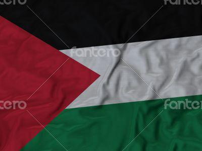 Close up of Ruffled Palestine flag