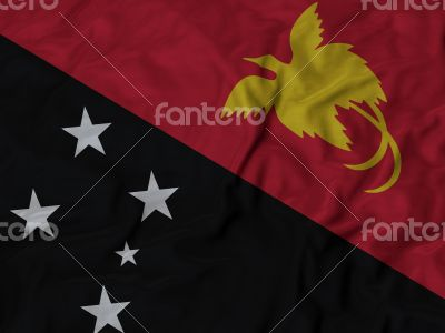 Close up of Ruffled Papua New guinea flag