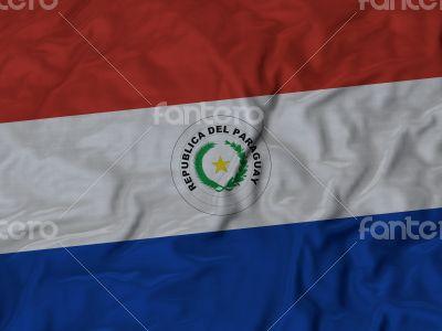 Close up of Ruffled Paraguay flag