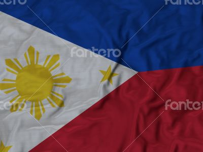 Close up of Ruffled Philippines flag