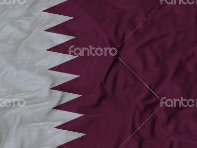 Close up of Ruffled Qatar flag