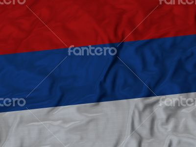 Close up of Ruffled Republika Srpska flag