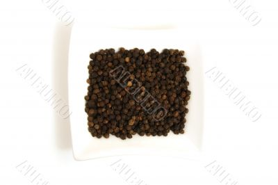 whole black pepper in square white bowl isolated