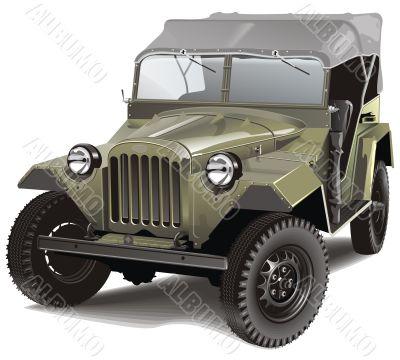 Green retro army  car