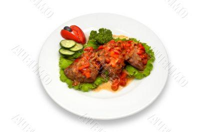 grilled veal fillet with vegetable salad sauce