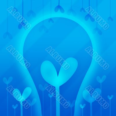 Abstraction with heart in blue