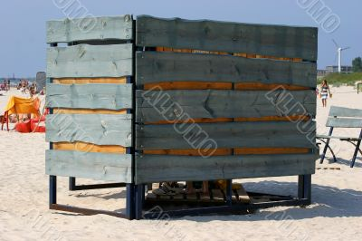 Beach cabine in sandy beach