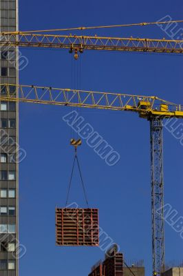 Construction crane lifting