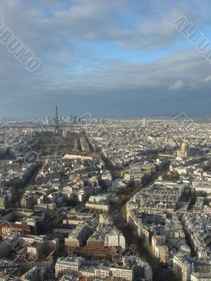 Panorama of Paris with a type on tour d,Eiffel