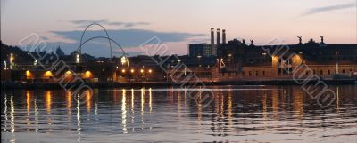 Night panorama of Barcelonian port. Port Well