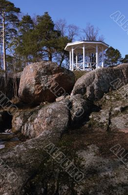 Landscape gardening rotunda on a rock