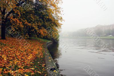 Mellow autumn on coast of Neva