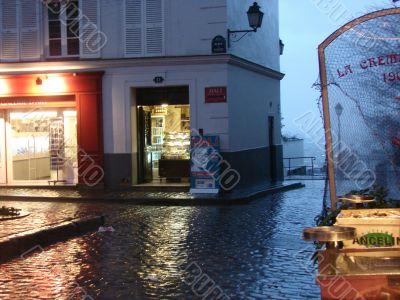Paris. A rain on Montmartre.