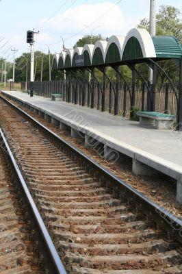 Railway station, rails and cross ties
