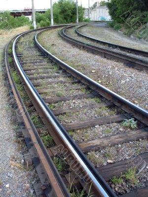 Rails of a tram way and old cross ties