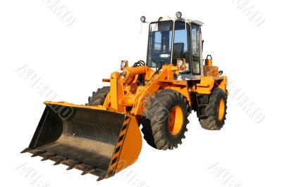 The heavy building bulldozer of yellow color