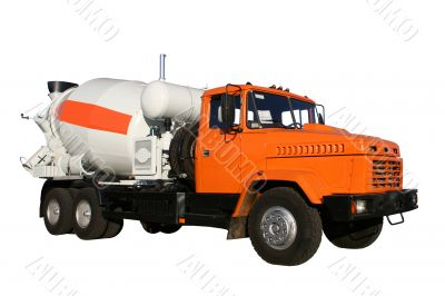 The new building lorry of red color