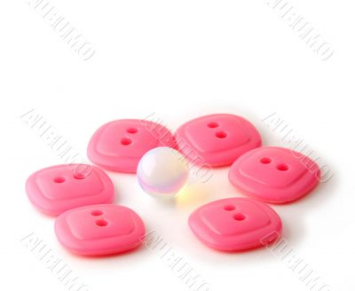 Rose rectangle buttons with opal sphere