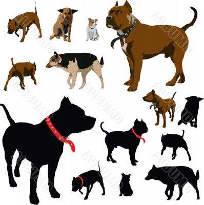 Dog illustrations and silhouettes