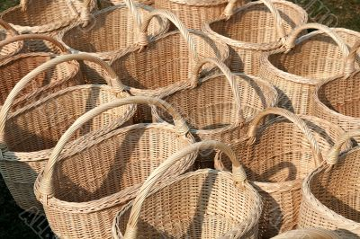 Line of baskets in the market