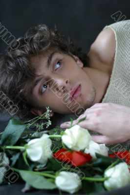 The young man with roses