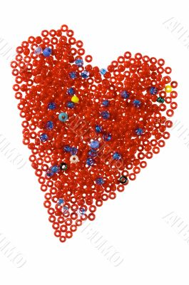 Red heart from galss beads