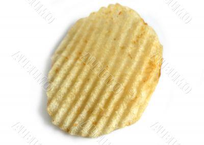 Ridged potato chip on white